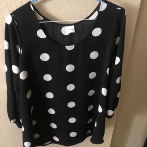 Black with White Polka Dots Top